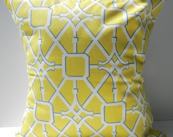 New 18x18 inch Designer Handmade Pillow Cases in yellow, blue and white trellis pattern