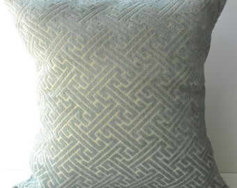 New 18x18 inch Designer Handmade Pillow Cases in dusty blue and champaign greek key pattern