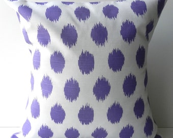 New 18x18 inch Designer Handmade Pillow Cases in purple ikat dot
