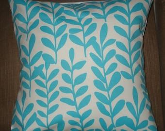 New 18x18 inch Designer Handmade Pillow Cases in bright aqua leaves on white.