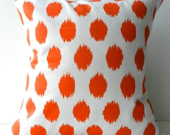 New 18x18 inch Designer Handmade Pillow Cases in orange ikat dot on white