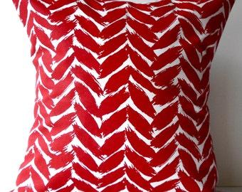 New 18x18 inch Designer Handmade Pillow Case. red on white graphic pattern