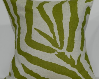 New 18x18 inch Designer Handmade Pillow Case. Large Zebra print in olive and linen color fabric.