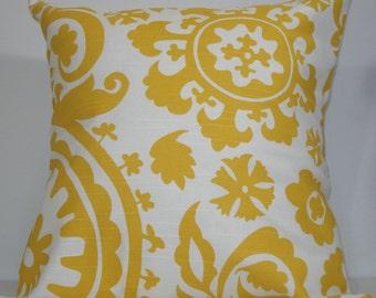 New 18x18 inch Designer Handmade Pillow Case. Suzani print in yellow