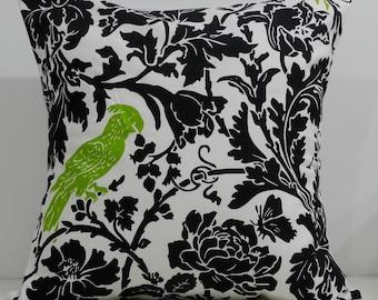 New 18x18 inch Designer Handmade Pillow Case. Black floral with green bird.