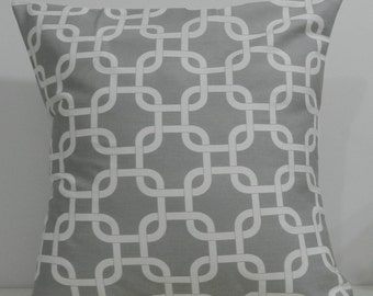 New 18x18 inch Designer Handmade Pillow Cases. Grey and white link pattern.