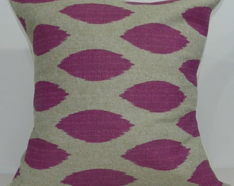 New 18x18 inch Designer Handmade Pillow Case in fuschia and taupe ikat