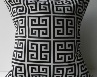 New 18x18 inch Designer Handmade Pillow Case in black and white greek key.