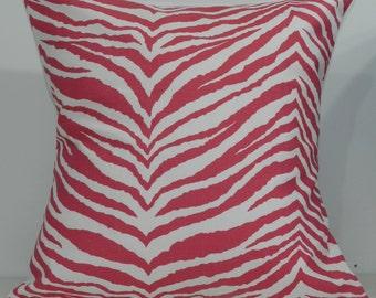 New 18x18 inch Designer Handmade Pillow Case. Zebra print in pink and white