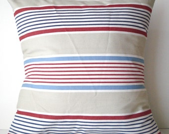 New 18x18 inch Designer Handmade Pillow Case in red, sand, white and blue stripe