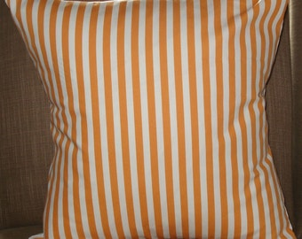 New 18x18 inch Designer Handmade pillow case in bright orange stripe on white.