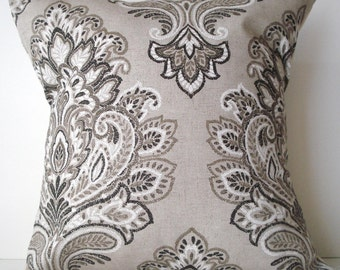 New 18x18 inch Designer Handmade Pillow Case in dark brown, taupe and white damask