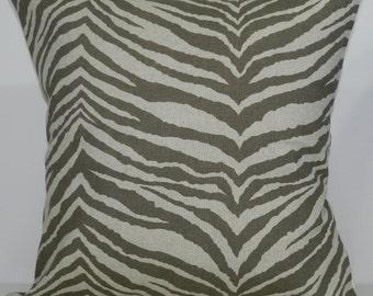 New 18x18 inch Designer Handmade Pillow Case. Zebra print in kelp and linen color fabric.