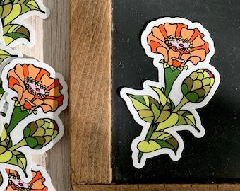 "Zinnia Flower Repositionable Waterproof Vinyl Sticker, 3"""