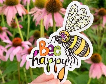 Bee Happy 3x3in. Vinyl Sticker