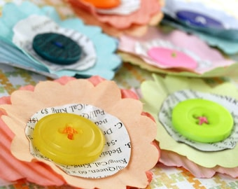 Recycled Paper  Flowers - Sunny Bright - made from recycled lightbulb boxes
