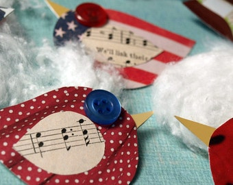 Patriotic Birds - a red white and blue tweet for the environment