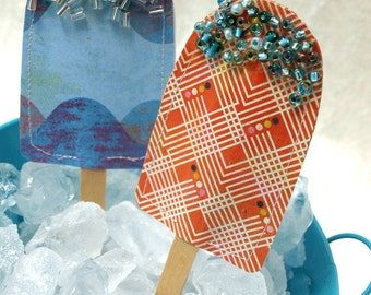 Popsicles - Paper Popsicle Accents in citrus orange and layered blueberry- loaded with sprinkles