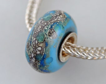 Silvered Organic Turquoise Bead - Artisan European Charm Bracelet Bead - (DEC-50)