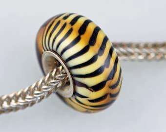 Big Classic Remake Siberian Tiger - Artisan Glass Charm Bracelet Beads - (DEC-24)