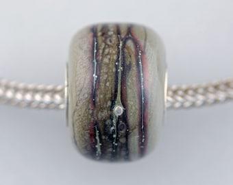 Unique Chubby Organic Barrel Bead - Artisan Glass Bracelet Bead - (DEC-41)