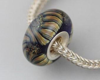 Unique Raku Dichroic Twist Bead  - Artisan Glass Bracelet Bead - (AUG-13)