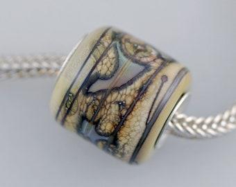 Unique Organic Barrel Bead - Artisan Glass Bracelet Bead - (DEC-49)