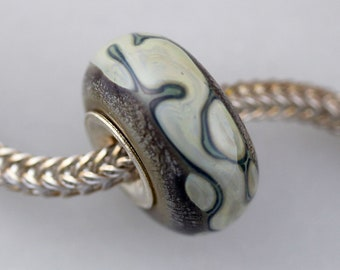 Unique Silvered Organic Bead - Artisan Glass Bracelet Bead - (AUG-24)