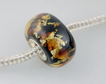 Big Chubby Ebony Gold Leaf - European Charm  Bracelet Bead - Silver Lined (AUG-20)