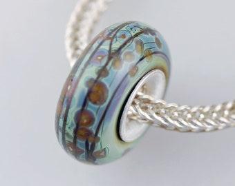 Unique Organic Raku Bead  - Artisan Charm Bracelet Bead - (DEC-48)