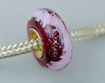 Pink Ribbon on Raspberry Bead - Unique Artisan Glass Bracelet Bead - (JUN-22)