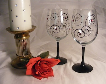 painted wine glasses black stem black swirls and Swarovski crystals in your choice of cofor for wedding, birthday, bridesmaids, anniversary