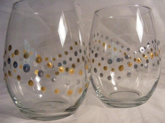 Painted Wine Glasses Stemless With Gold And Silver Polka Dots Etsy
