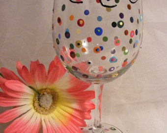 """Birthday wine glass """"Vintage 1971"""" 50th birthday or Vintage 1961 for 60th birthday colorful polka dots and swirls for  any vintage year"""
