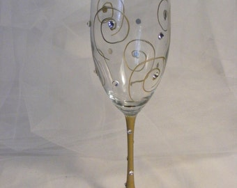 gold champagne flute with bling - perfect for 40 50 60 and Fabulous birthdays or golden wedding anniversary