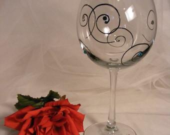 "personalized ""Vintage 1971"" - 50th birthday wine glass - swirls and Swarovski crystals - large 18oz  wine glass"