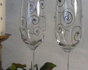 elegant champagne toasting flutes with Swarovski crystal rhinestones