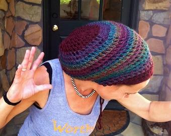 DREAD HAT Handmade Crochet Hat WOOL   Blend Yarns   Natural Hat Hippie Hat  Boho Hat Rasta Hat Dread Tam Dreadlocks  Wine Multicolor  s m b980c5ed852e