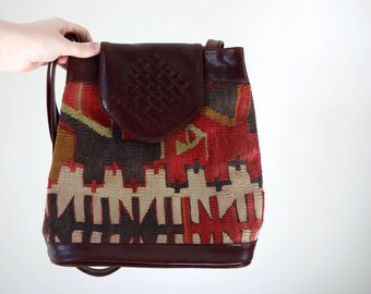 Vintage KILIM Purse •1990s Shoulder Bag •Structured Bucket Style Woven Tapestry Handbag Leather Unique Textile Braided Made in Turkey