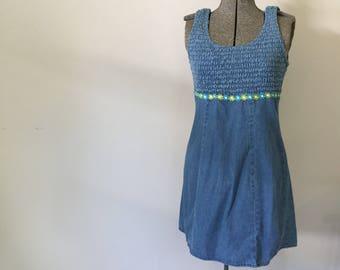 Vintage DENIM MINI Dress • 1990s Clothing •Cotton Blue Jean Bodycon Fitted Bandage Crazy Daisy Sleeveless Scoopneck •Womens Small Medium