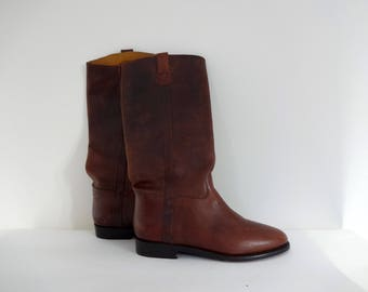 Vintage COLE HAAN COUNTRY Boots • 1990s Women Shoes • Size 7.5 B Brown LeatherRiding Classic Equestrian Tall Mid Calf Knee High Western