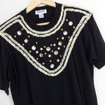 CLEARANCE Vintage RHINESTONE T Shirt • 1990s Clothing •Black Silver Gold Short Sleeve T Shirt 90s Top Unique One of a Kind •Medium Large