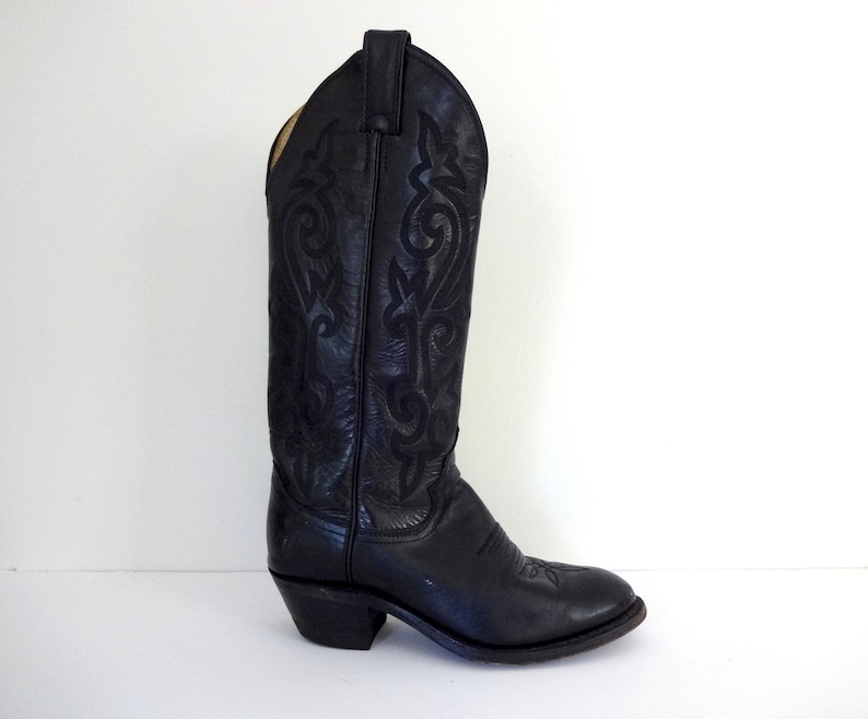 Vintage JUSTIN Boots  1990s Footwear  Classic Black Stitched image 0
