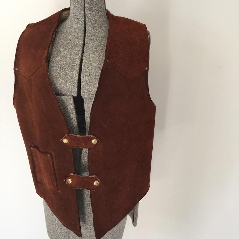 Vintage SUEDE VAQUERO Vest 1970s Western Wear Clothing  image 0
