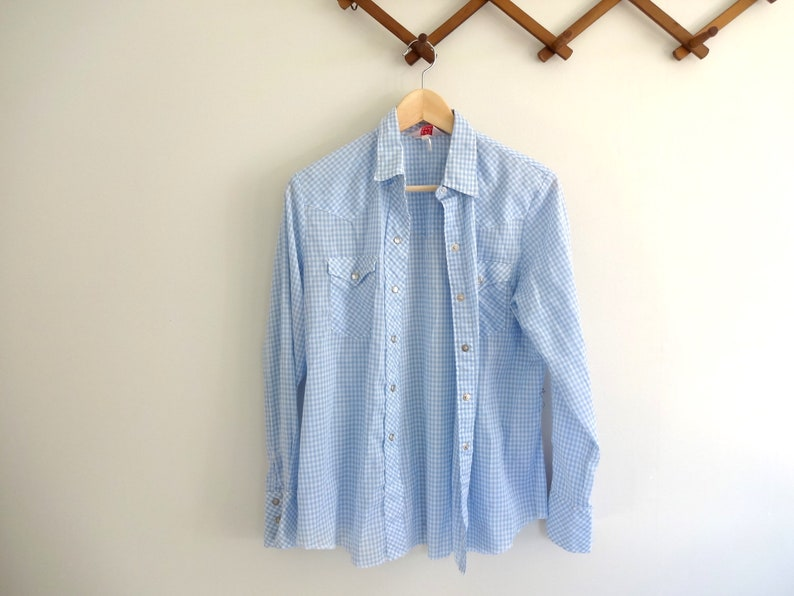Vintage H BAR C Shirt  1970s Clothing Womens Fitted Western image 0