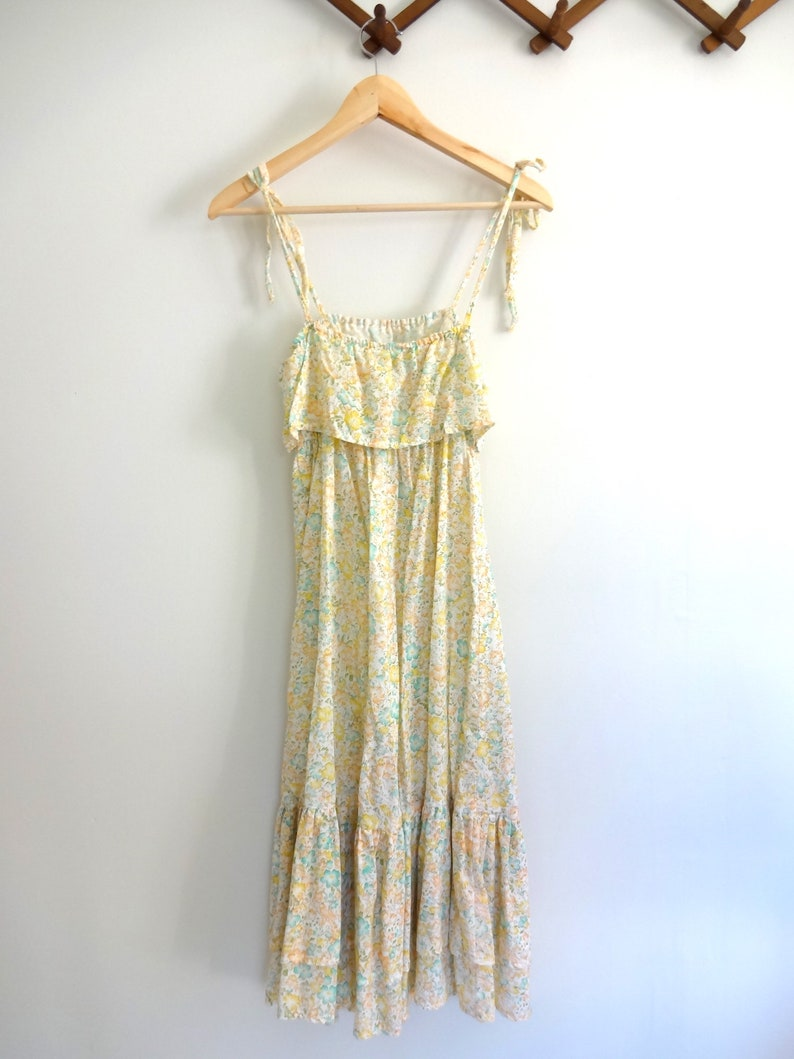 Vintage SUN Dress 1970s Clothing  Modern Midi Length Empire image 0