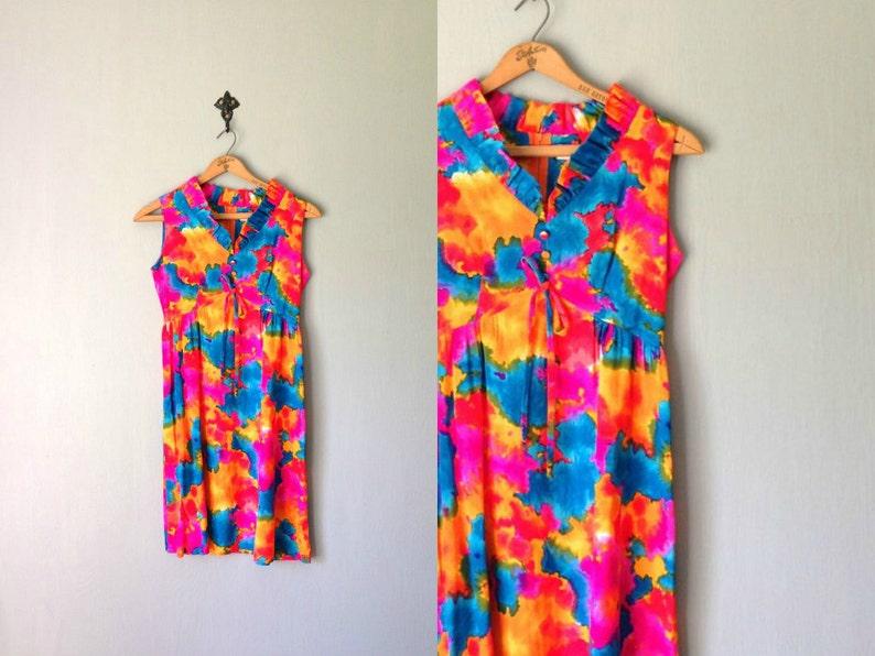 Vintage OAHU Dress 1960s Clothing  Mod Mini Hawaiian Tie image 0