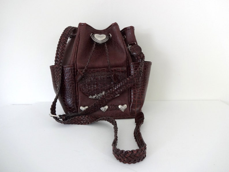 Vintage BUCKET Bag 1990s Purse  Studded Concho Hearts Faux image 0