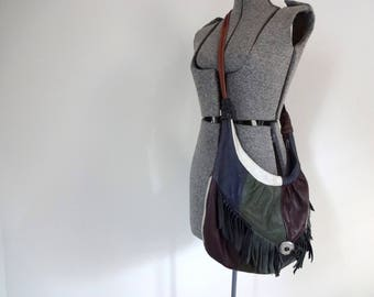 Vintage PATCHWORK Bag •Multicolor Leather Fringe Concho Sling Tote • Multicolor Unique Purse Slouch Hobo Bag • Southwestern Style Unique