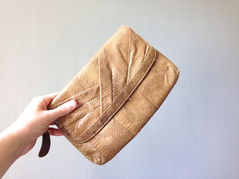 Vintage SNAKESKIN Purse  1980s Accessories Small Classic image 0